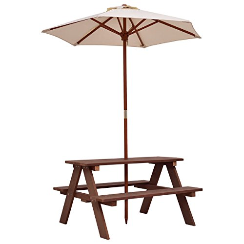 New Brown Kids Picnic Table Bench w/ Folding Umbrella Garden Yard Children Outdoor 4 Seat by totoshop