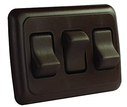 JR Products 12155 Brown Triple SPST On-Off Switch with Bezel 0305.1254