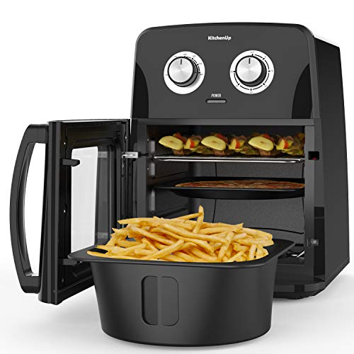 KitchenUp Air Fryer Oven Combo, 12 QT 10-in-1 Auto-Stirring Hot Cooker with Visualized Window, Dishwasher Safe Frying Accessories for Roasting, Reheating and Dehydrating (A Mitt and Recipe Included)