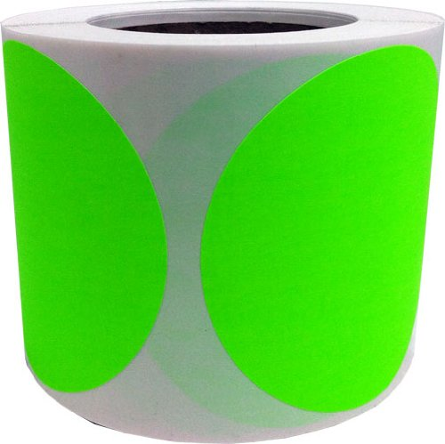 Fluorescent Green Color Coding Labels for Organizing Inventory 4 Inch Round Circle Dots 500 Total Adhesive Stickers On A Roll by InStockLabels.com