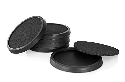 Silicone Drink Coasters with Absorbent Soft Felt Insert Set of 6 by Comfortena - Unique New Design two in One Coaster - Black (Non Skid Rubber Coaster)
