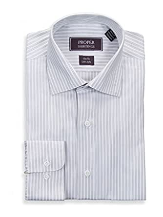 Slim fit gray white striped spread collar 2 ply cotton for 2 ply cotton dress shirt
