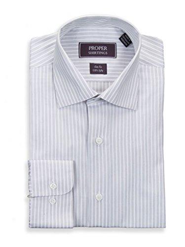 (Estee Lauder Slim Fit Gray White Striped Spread Collar 2 Ply Cotton Dress Shirt)