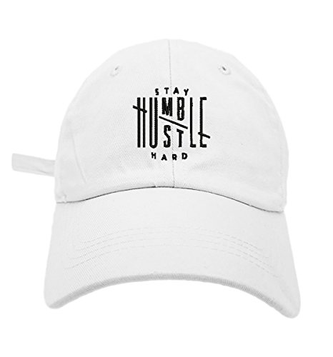 Cap White Baseball Logo (TheMonsta Humble Stay Hard Logo Style Dad Hat Washed Cotton Polo Baseball Cap (White))