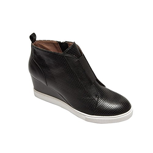 Felicia - Our Original Platform Wedge Sneaker Bootie Black Perforated Leather 8.5M