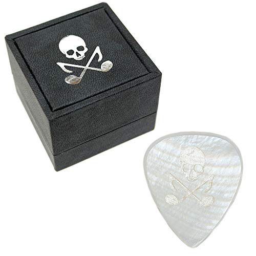 (Guitar Picks by Skull and Tones | Custom Heavy 2mm Electric | Expand Your Guitar Playing | Ships in Our Signature All-Black Pick Box with Logo and Motto | White Mother of Pearl)