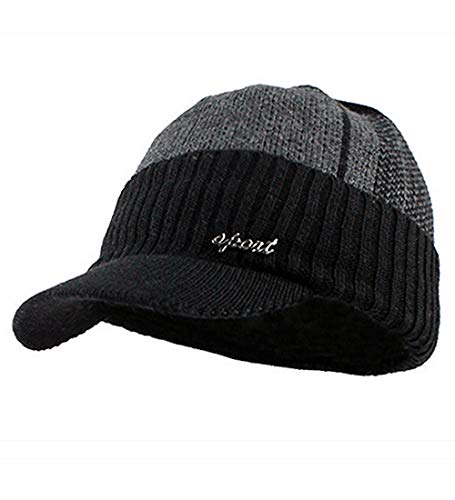 YOYEAH Men's Outdoor Newsboy Hat Winter Warm Thick Knit Beanie Cap Fleece Lined Skull Ski Cap with Visor Black