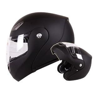Modular Flip-up Motorcycle Helmet Matte Flat Black DOT #936 (XL)