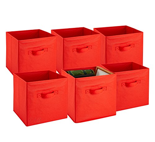 Foldable Cube Storage Bins - 6 Pack - These Decorative Fabric Storage Cubes are Collapsible and Great Organizer for Shelf, Closet or Underbed. Convenient for Clothes or Kids Toy Storage (Red)