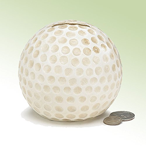 Golf Ball Bank - White Dimpled Golf Shaped Resin Money Bank For Golf Lover