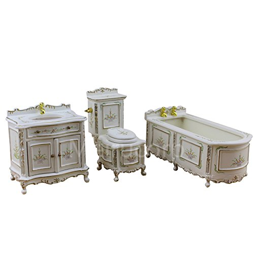 Dollhouse Fine 1/12 Scale Miniature Furniture Well Made Hand Carved Bathroom Set by Meirucorp