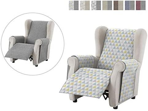 Textilhome - Funda Relax Cubre Sofá Dante, 1 Plaza, Protector para Sofás Acolchado Reversible. Color Amarillo C/5