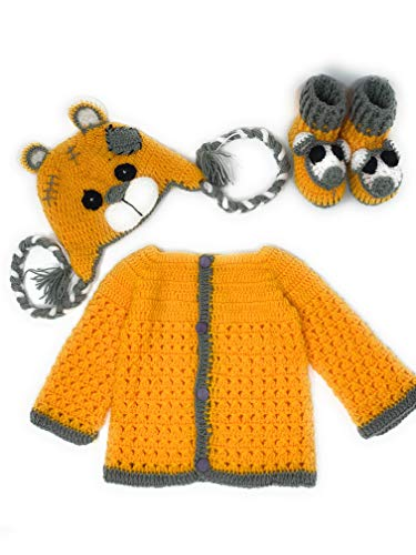 (Hand Made 3 Piece Knitted My Little Tiger Crochet Set- Newborn Toddler Sweater Set Includes- Booties & Hat (6-12 Month))