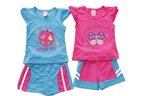 - Just Love 44043-2T Two Piece Short Set (Pack of 2) Pink/Blue