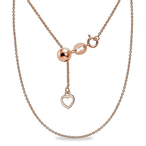 (Rose Gold Flashed Sterling Silver Adjustable Rolo Bolo Chain Necklace 20