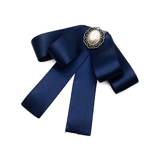 JollyFree Fashion Ribbon Applique lady Tie Bow Collar Brooch Pin Cosplay Accessory (Navy Blue)
