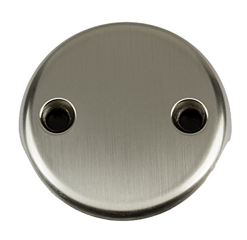 2-Hole Overflow Face Plate with Screws- PVD Satin (brushed) Nickel