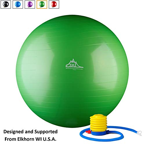Black Mountain Products Static Strength Exercise Stability Ball with Pumps, 2000 lb, Green
