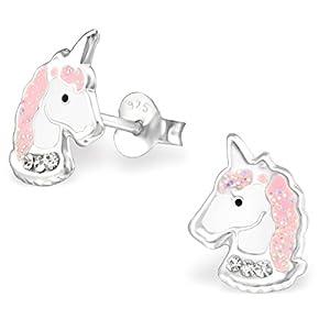925 Sterling Silver Light Pink Sparkling Unicorn Head Stud Earrings 32010 (Nickel Free)