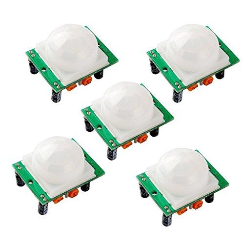 HC-SR501 Pyroelectric Módulo Sensor de Movimiento Infrarrojo PIR, SeeKool 5pcs Módulo Sensor de Movimiento para Arduino UNO R3 Mega 2560 Nano Raspberry pi ...