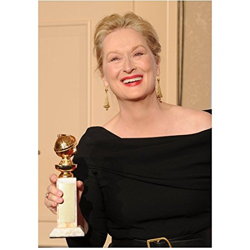 Meryl Streep 8 Inch x 10 Inch Photo in Black Dress Holding Her Golden Globe Award Pose 2 kn