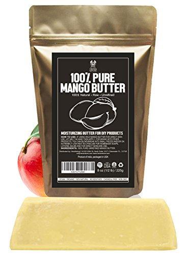 Raw, Unrefined Mango Butter Bar, 8 oz - Amazing Moisturizer, Use Alone or in DIY Body Butters, Soaps, Lotions and lip balm - 100 Percent Pure and Fresh ()
