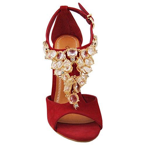 Carrano Kvinners Nubuck Skinn Smykker Sandal Red