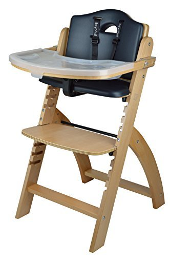 Image of the Abiie Beyond Wooden High Chair with Tray.The Perfect Seating Highchair Solution for Your Child As Toddler's or a Dining Chair (6 Months & up) (Natural - Black Cushion) by Abiie