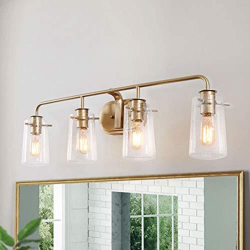 KSANA Vanity Light, 4-Light Modern Bathroom Lighting in Antique Brass Metal Finish - Bathroom Midcentury Modern Mirrors