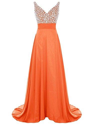 Alyce Designs Prom Dress - PearlBridal Women's V-Neck Beaded Chiffon Prom Dress Long Wedding Bridesmaid Dress Orange Size 14