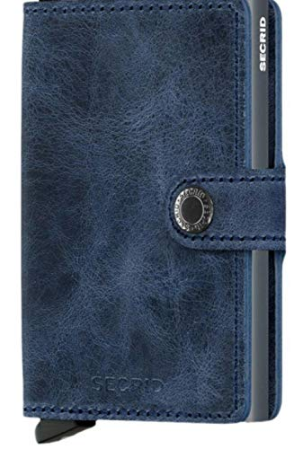 Secrid Mini Wallet Genuine Blue Leather with Titanium RFID Protection/with one Click All Cards Slide Out Gradually (Blue Titanium)