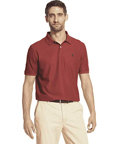 IZOD Men's Advantage Performance Solid Polo, Saltwater Red X-Large