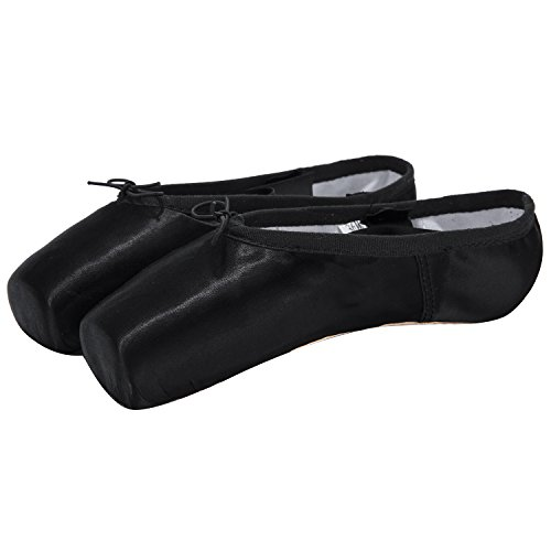 s Dance Shoe Pink Ballet Pointe Shoes with Toe Pads (8, Black) ()