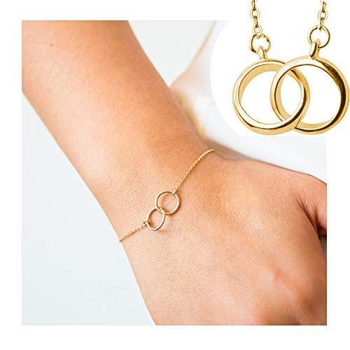 Circle Bracelet Friendship Of (palettei Dainty Circle Link Charm Bracelets, Simple Adjustable Thin Bracelet Friendship Jewelry (Gold))
