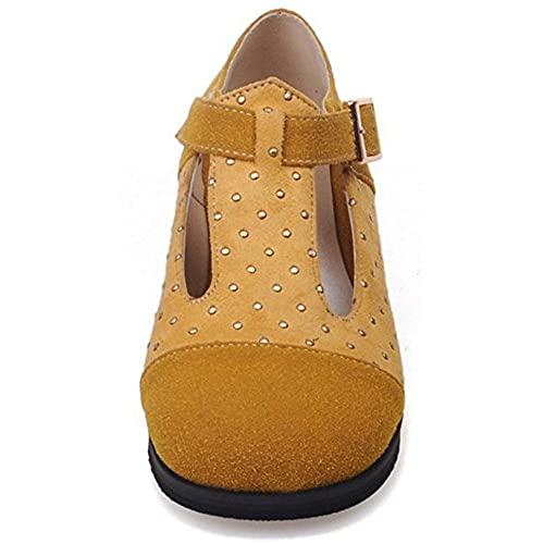Summerwhisper Women's Casual Contrat Color Round Toe Rivets Studded T-Strap Low Heel Wide Width Pumps Shoes new