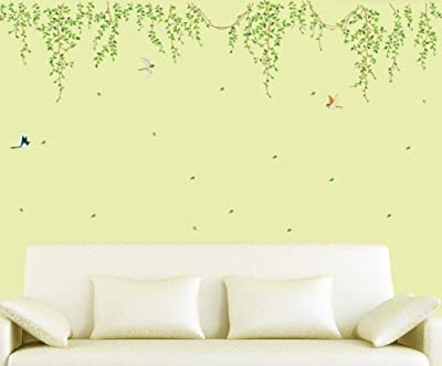 BestGrew® Green Tree Branch Vine and Flying Birds Wall Decals, Living Room Bedroom Removable Wall Stickers Murals