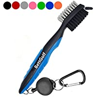 BettGolf Golf Club Brush and Groove Cleaner Brush By Brushes in 7 For Golf Shoes/Golf Club/Golf/Golf Groove, 2 Ft Retractable Zip-line Aluminum Carabiner