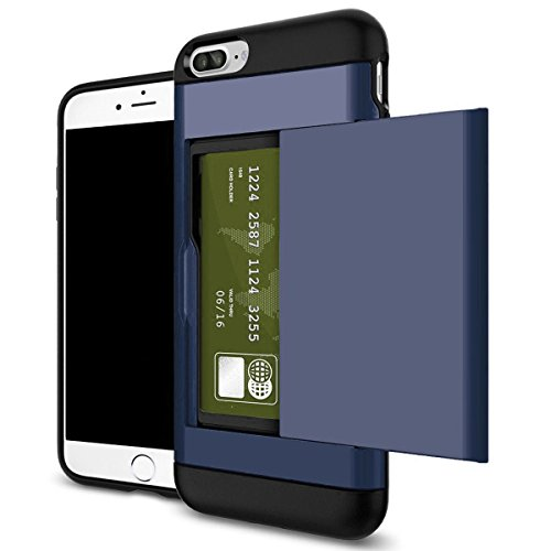 edit Card Pocket Holder Case Cover For iPhone X 8 7 6s Plus (Navy Blue, iPhone 6 Plus/6s Plus) ()