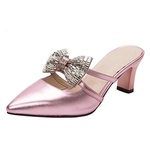Enfiler Pink Bout Pointu Bowknot à Femmes Sandales RAZAMAZA YCqT7w0