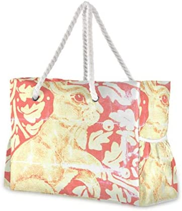 MORITAビーチバッグ レディース バック プールバッグ スイムバッグ ビーチ 海水浴 大きめ 軽い 軽量 旧式な一見 ウサギ 錆 オレンジ金ゴールド 秋