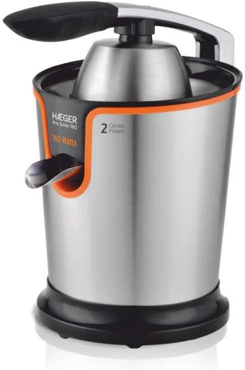 HAEGER PRO JUICE - Exprimidor de Cítricos 160W, cuerpo y brazo en inox, sistema anti-goteo, colador de pulpa en inox, 2 conos de presión