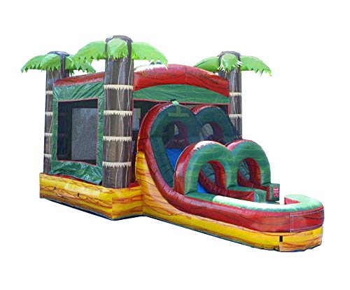 - TentandTable Kids Tropical Fire Marble Single Lane Wet or Dry Slide & Bounce House Combo, 26-Foot Long by 13-Foot Wide by 14-Foot Tall, Commercial Grade Inflatable, Blower and Stakes Included