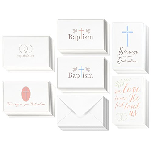 36 Pack Christian Religious Greeting Cards Bulk Box Set For Blessings On Your Dedication Wedding Congratulations Baptism Christening Baby Boys And