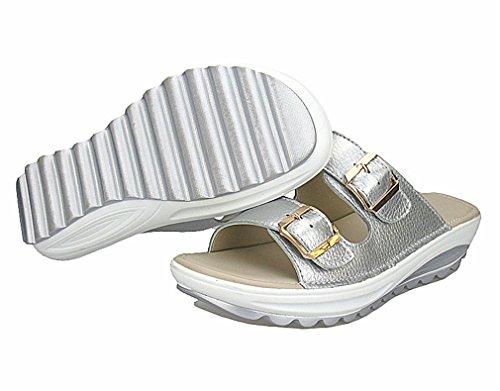 Tongs Diapositives Chaussures Cales Silver En Sandales Plate Casual Plage Femmes Femme Femmes D'été Cuir Lumino Véritable Flats Forme wR1B4gqR