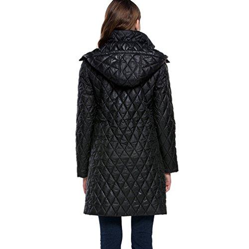 Dooxi Larga Mujer Otoño para Largo Abrigos Manga e Encapuchado Invierno Negro Cómodo Chaquetas del 4wAr46q