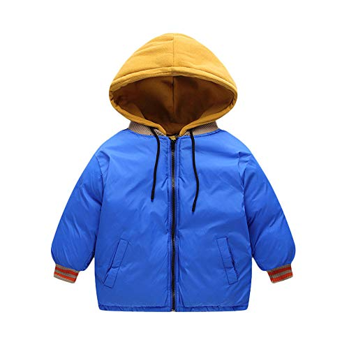 Geetobby 3Y-7Y Children Thick Short Hooded Jacket Drawstring Pocket Cotton Coat