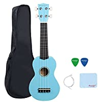 21 Inch Soprano Ukulele Kids Student Hawaiian Ukulele Starter Package Light Blue
