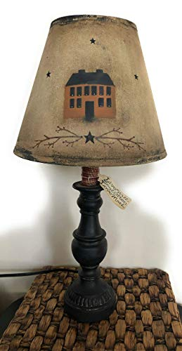 Primitive Distressed Rustic Saltbox House Lamp Berry Vine