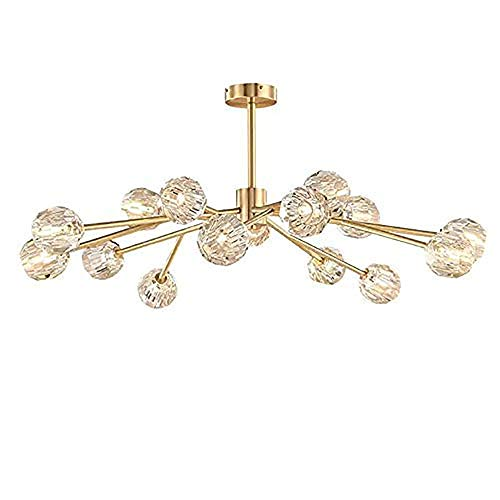 18 Lights Modern Crystal Sputnik Chandelier Pendant Lighting Fixture Flush Mount G4 LED Ceiling Light Lamp Suitable for Living Room,Bedroom,Dining Room,Bar (Brass)