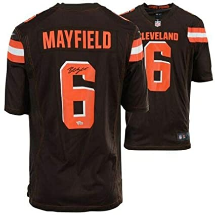 new styles 95c4d 3d861 Amazon.com: BAKER MAYFIELD Autographed Cleveland Browns Nike ...